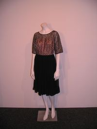 Vintage womens black lace topped dress 1