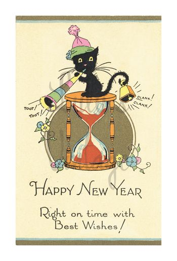 0025 Happy New Year Cat - Front - W