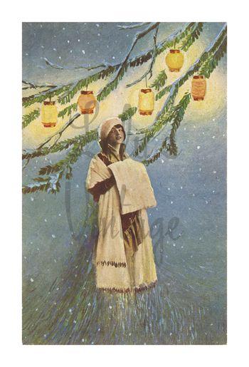 0030 Winter Woman Lanterns - Front - W