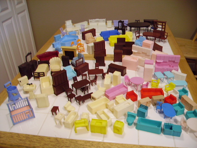 Awesome Vintage Dollhouse Furniture For Sale Part - 10: 124 Plastic Pieces Of Doll House Furniture. The Current Bid On This Set Is  $19.99