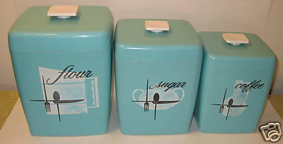Set Of Three Turquoise Plastic Canisters With Kitchen Utensil And  Kitchenware Design. The Starting Bid Is $29.95 And There Are 3 Days Left On  Their Sale ...