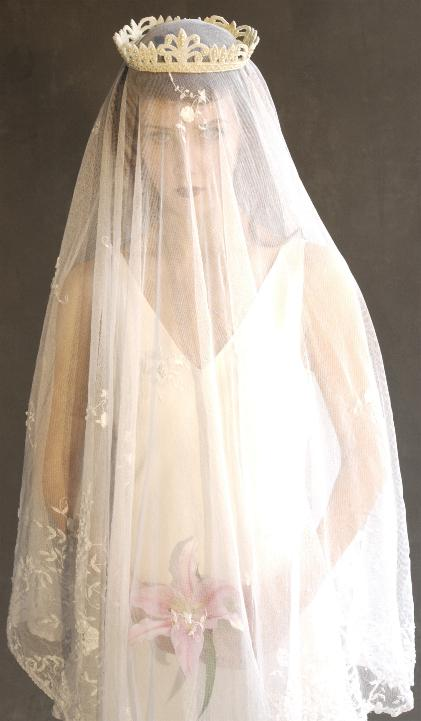 Gorgeous Vintage Lace Wedding Veil And Beaded Crown